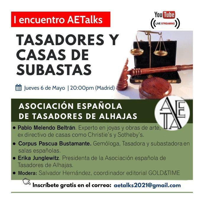 Los Tasadores de Alhajas inician su ciclo de charlas online: AETAlks