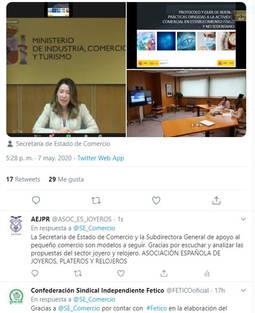 Pantallazo en redes sociales tras el encuentro celebrado entre la Secretaría de Estado y los representantes de las principales Asociaciones del comercio en nuestro país.