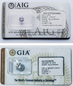 Certificados gemológicos de ambas entidades.