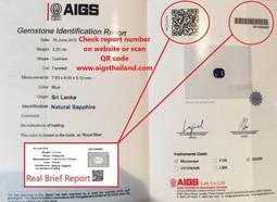 Certificado auténtico de este laboratorio, que insta a comprobar el número de informe y el anagrama QR para cerciorarse de su validez.