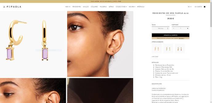 Pendientes de la firma PD Paola publicitados como 'de oro' cuando en realidad es plata chapada.