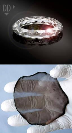 Abajo, la placa de diamante CVD de 150 quilates creada en un laboratorio. Arriba, el resultado final.