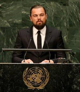 Di Caprio en un discurso ante la asamblea de Naciones Unidas donde se abordaban los riesgos del cambio climático.
