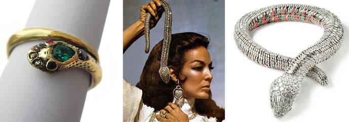 A la izquierda, anillo de compromiso en forma de serpiente de la reina Victoria. A la derecha, collar encargado a Cartier por la diva mexicana María Félix.