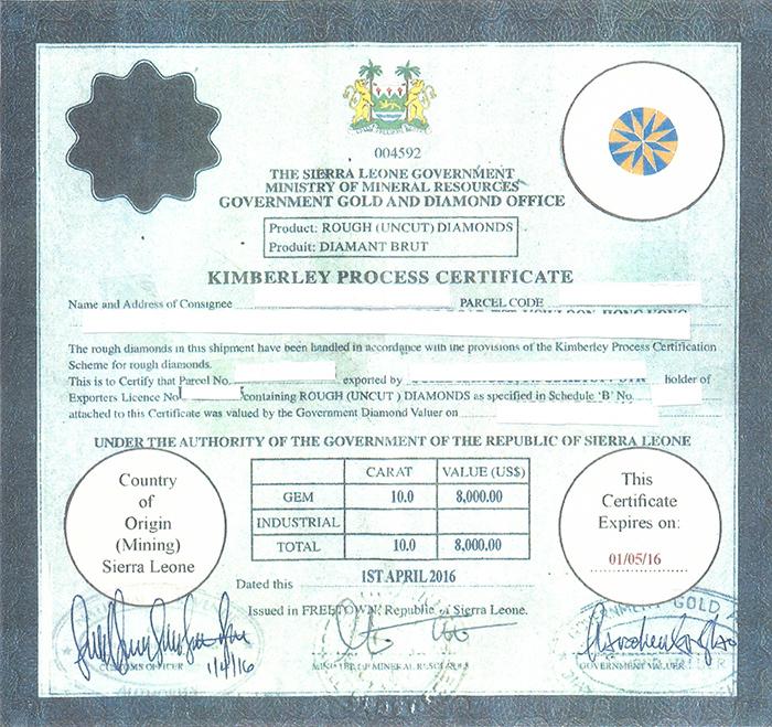 Hasta 10 años de carcel por falsificar un certificado de Kimberley