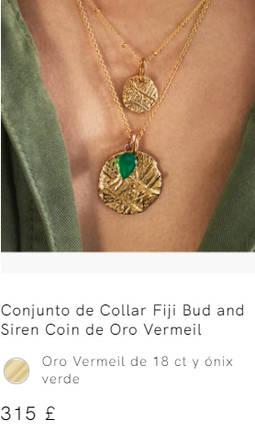 Detalle de una de las piezas en las que se publicita como Joyas de Oro Vermeil, cuando en realidad se trata de chapados.