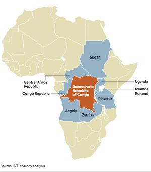 La República Democrática del Congo y los países aledaños son el principal foco de conflicto para los metales.