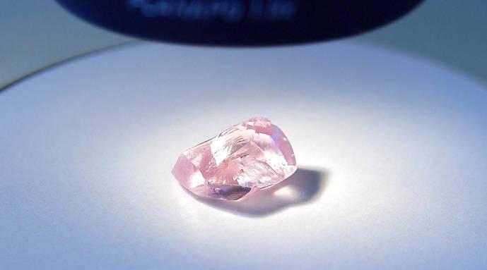 Alrosa muestra el mayor diamante rosa encontrado por la compañía