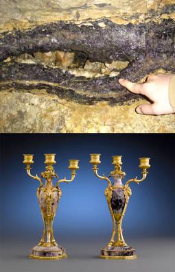 En la imagen superior, una veta de esta variedad de fluorita. Abajo, dos candelabros franceses de mediados del siglo XIX.