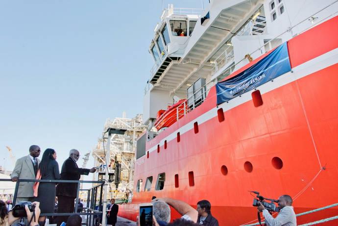 Inauguración del último barco para la extracción de diamantes de Debmarine, el pasado mes de junio.