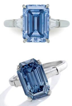 Arriba: Diamante azul de 3,09 quilates vendido en Christies por 5,4 millones de dólares. Abajo: Diamante azul de 3,47 quilates vendido en Sothebys por