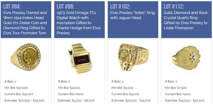 Elvis Presley vende algunas de sus joyas y relojes en subasta