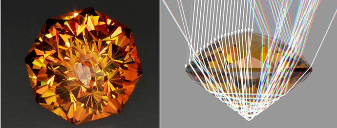 A la izquierda, la gema finalizada. Imagen derecha: Paso de luz a través de la gema, con rayos incidentes blancos y rayos salientes que sufren dispersión al refractarse a través de la gema. Modelado en el programa DiamCalc.