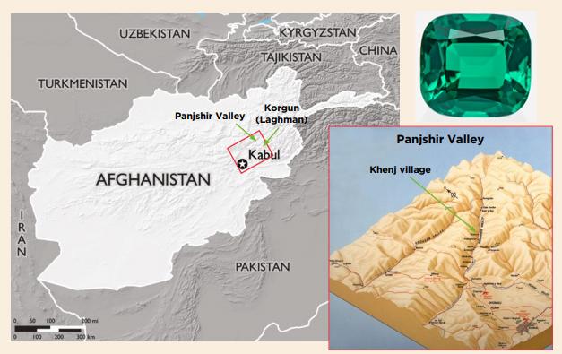 El mapa de la izquierda (© USAID) muestra la ubicación de los depósitos de esmeraldas en el valle de Panjshir y cerca de Korgun (Provincia de Laghman) en el noreste de Afganistán. El mapa de bloques tridimensional de la derecha (cortesía de WikiCommons) es mirando hacia el valle de Panjshir, que se extiende unos 100 km hacia el noreste. El área minera de esmeraldas de Panjshir es ubicado aguas arriba de la aldea de Khenj, que está a unos 115 km de Kabul