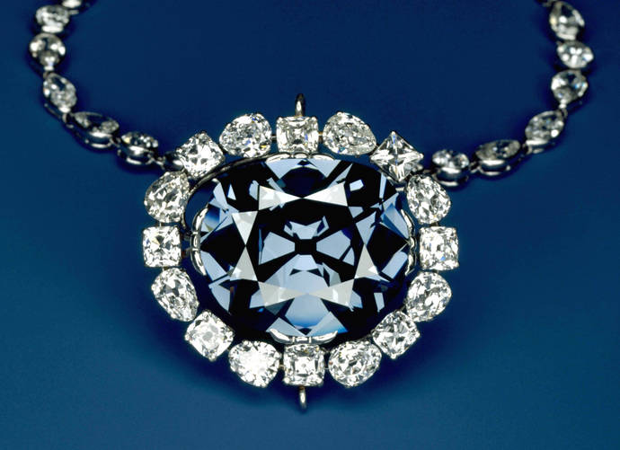 El diamante Hope en su engarce original, tal como lo adquirió Harry Winston en 1949.