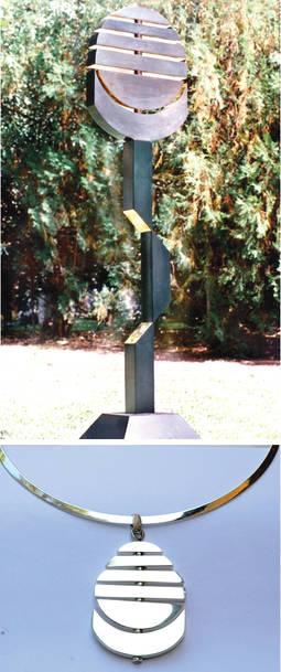 Dos interpretaciones del mismo motivo: Arriba a la derecha, escultura Sol Naciente, en chapa de bronce. Abajo, colgante en plata del mismo título.