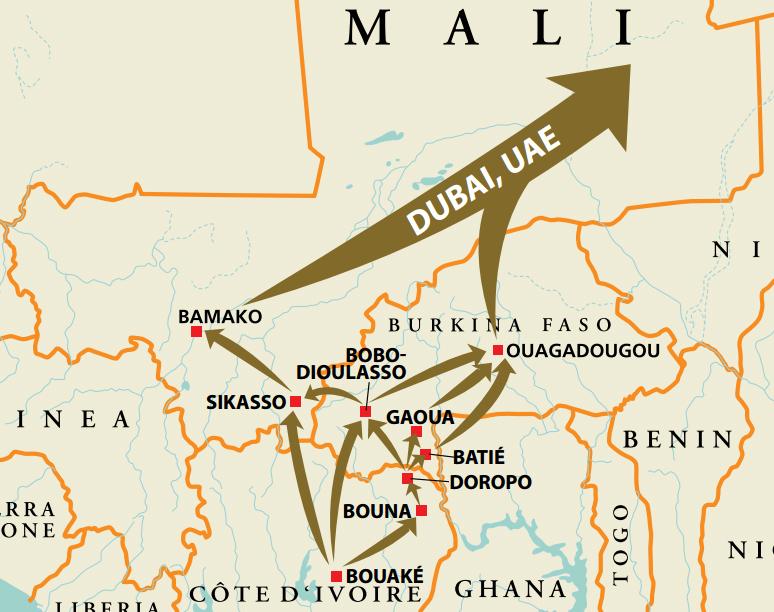 Cartografía del comercio ilícito de oro desde África Occidental