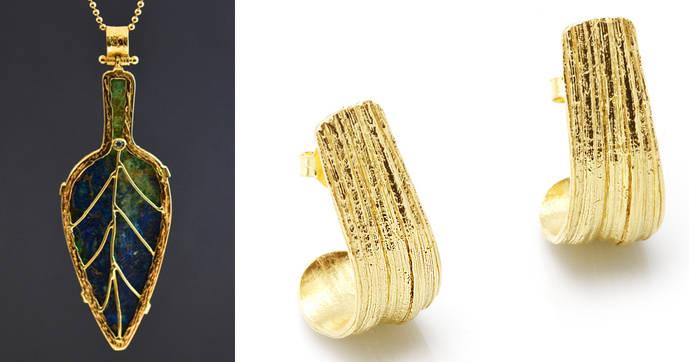 A la izquierda, colgante con punta de flecha prehistórica montado con oro de 18 quilates de Fernando Gallego. A la derecha unos pendientes en plata chapada elaborados con la técnica ancestral japonesa Mitsuro Hikime, obra del taller Joelle Joyas.