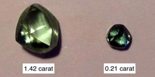 Cinco raros diamantes verdes en Australia