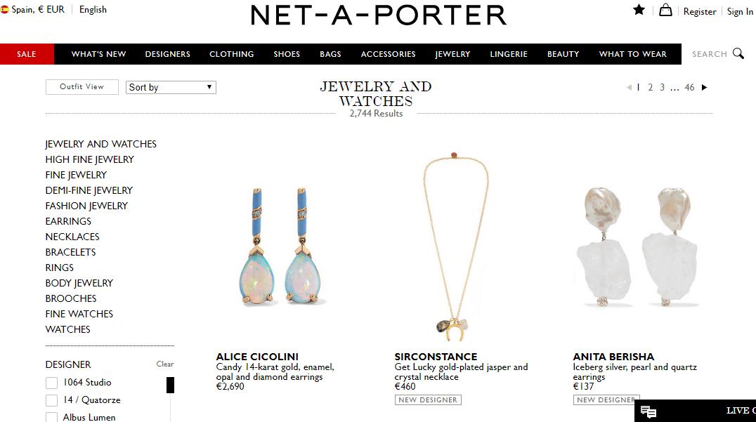 Movimientos en la primera línea de venta de lujo online