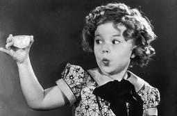Shirley Temple con el extraordinario diamante en bruto.