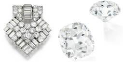 A la izquierda, broche antaño perteneciente a Margaret Tatcher. A la derecha, el diamante considerado erróneamente como bisutería, en dos perspectivas.